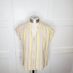 Vintage April Cornell Striped Button Down Shirt